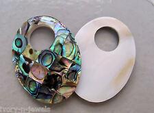 "1.5"" Oval MOP Mosaic Paua Abalone Shell Reversible INTERCHANGEABLE Donut Pendant"