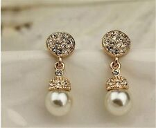 18K GP Rose Gold Crystal White Shell Pearl Unique Drop Earring