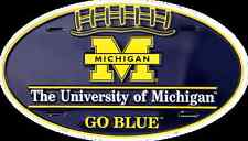 MICHIGAN WOLVERINES CAR TRUCK TAG OVAL FOOTBALL LICENSE PLATE GO BLUE SIGN