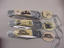 AMERICAN MINT*3 POCKET KNIFES & KEY CHAINS*MOOSE/BASS/BALD EAGLE*W/CERTIFICATES*