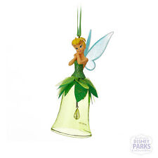 Disney Parks Tinker Bell on a Green Glass Bell Christmas Ornament