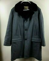 Vtg 70s Zero King Men's Sz 40 Gray Wool Wind/Water Repellent Faux Fur Lined Coat