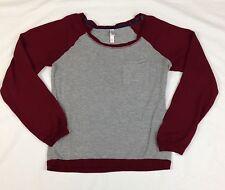 Exhilaration Women's Shirt Long Sleeve Pullover Gray Burgundy Ragland Sleeve XS
