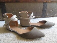 ffa4c4d96ac6 Charlotte Russe Brown Taupe Tan Faux Suede Ankle Strap Ballet Slip On Flats  Sz 8