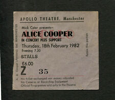Alice Cooper 1982 Concert Ticket Stub Apollo Manchester School's Out