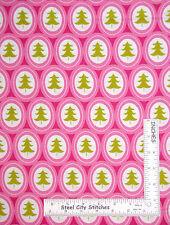 Christmas Tree Medallion Pink Modern Cotton Fabric 101-112 Treelicious - Yard