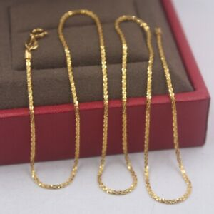 Pure 18k Yellow Gold Chain Unisex Luck Full Star Link Necklace 1mmW 16-18inch