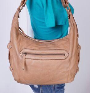 COLE HAAN Large Beige  Leather Shoulder Hobo Tote Satchel Purse Bag