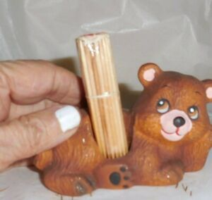Vintage Bear Toothpick Holder J S N Y  Taiwan