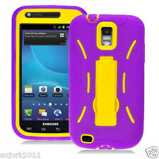 T-MOBILE SAMSUNG GALAXY S2 T989 HYBRID RUGGED ARMOR CASE W/STAND PURPLE YELLOW