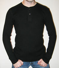 Ralph Lauren Polo 100% Cashmere Black Rib Knit Henley Sweater - Size Medium