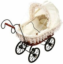 Basket Doll's Pram Antique Design Pushchair Baby Doll Kids Play Role Games New