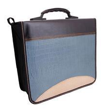 520 Disc CD DVD Two-Color Pattern Storage Bag Holder Case Wallet Blue & Brown