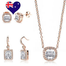 Decó 18ct Rose Gold Cubic Zirconia Stud Earrings and Pendant Bridal Gift Set