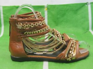 NEW LADIES Summer Tan/Gold  SEXY Ankle Straps Gladiator Sandals Women  Size 6