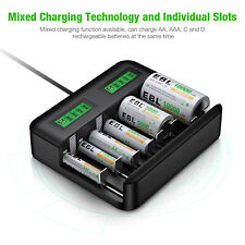 EBL AA AAA C D Cell C D Size Battery Charger For NIMH NICD Rechargeable Battery