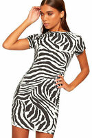 NEW WOMEN'S LADIES Black White Zebra Print Short Sleeve Mini Dress size 8-22
