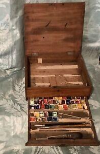 Antique Artist's Watercolour Box. Late 1800s.