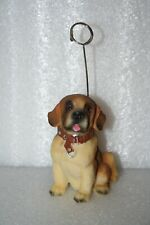 Saint Bernard Puppy Dog Figurine Photo Clip Stand Holder Resin Wears Collar