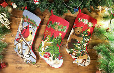 Beautiful Needlepoint Christmas Stocking Xmas Toys Birds Deer Teddy Bear