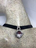 Vintage Real Pale Rose Quartz 925 Sterling Silver Pendant Choker Necklace