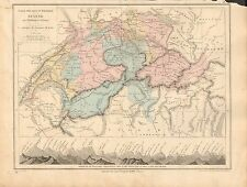 1868 ANTIQUE MAP- DRIOUX et LEROY-SUISSE, PHYSICAL AND POLITICAL, HEIGHTS OF MOU