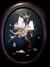 Japanese Shibayama Style Plaque -Eagle inset with mother of pearl