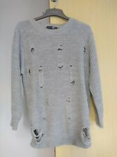 Boohoo Grey Long Jumper Hole  Frayed Detailed Size 16 Ladies Womens