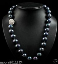 New 12mm south sea black shell pearl necklace 20""