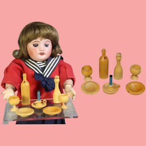Vintage Doll Sized French Treen Wine Bottle Glasses Candlestick Dishes Set!