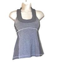 Lululemon  Women's Size 6 Racerback Tank Top Grey & White Striped Print