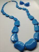 Vintage Silver Toned Blue and Silver Beaded Necklace and Earrings Jewelry Set