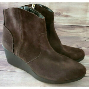Crocs Womens Shoes Size 10.5 Leigh Suede Wedge Bootie Brown