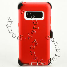Samsung Galaxy Note 8 Hard Case Cover w/Clip Fits Otterbox Defender Red White
