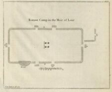 """""""Roman Camp in the Muir of Lour"""". Kirkbuddo, Forfar, Scotland 1789 old map"""