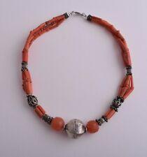 Vintage yemen Silver/ Yemen yemeni tube red coral Necklace Choker/SALE