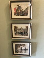 Set Of Three 1960s - 70s English Art Prints 9 1/2 X 11 1/2 Inches Each Framed