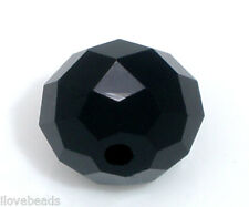 50 PCs Black Crystal Glass Faceted Rondelle Beads 10mm