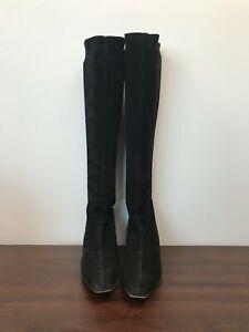 Stuart Weitzman Size 11 Suede Black Knee-high Boots LIVE!