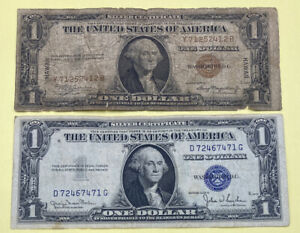 1935 HAWAII BROWN SEAL, 1935 BLUE SEAL SILVER CERTIFICATE ($1) ONE DOLLAR NOTES