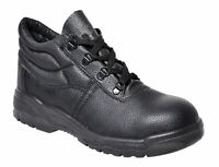 Portwest FW10 Steelite Black Leather Work Boot with Protective Steel Toecap ASTM