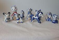 Vtg WEKMA DELFTS Blue & White Porcelain Figurineslittle animals rare GZHEL?
