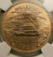 1951 Mexico 20 Centavos NGC UNC Details (M412)