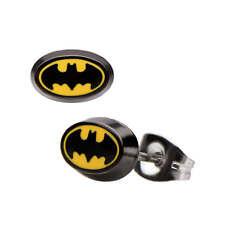 DC Comics Batman Bat Logo Oval Stud Earrings