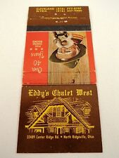 Matchbook Cover ~ EDDY'S CHALET WEST North Ridgeville, OH Rear Strike 30 Columbi