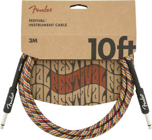 Genuine Fender Festival Instrument Cable 10 ft Angle/Straight Pure Hemp, Rainbow