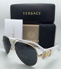 New VERSACE Sunglasses VE 2150-Q 1341/87 Gold & White Aviator Frames Grey Lenses