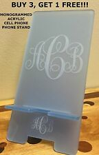 PERSONALIZED MONOGRAMMED ACRYLIC CELLPHONE STAND IPHONE SAMSUNG - IN 16 COLORS