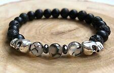 Semi Precious Natural Stone Silver Skull Power Bead Bracelet Wristband for Men
