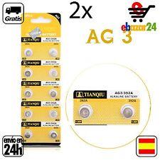 2x AG3 PILAS pila de botón baterías 392A boton bateria AG 3 L736 384 392 SR41W S